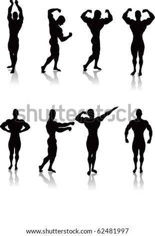 Silhouettes of Classic bodybuilding posing.Separated into layers for easy editing./Classic Bodybuilding Poses