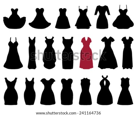 Silhouettes of cocktail dresses, vector - stock vector