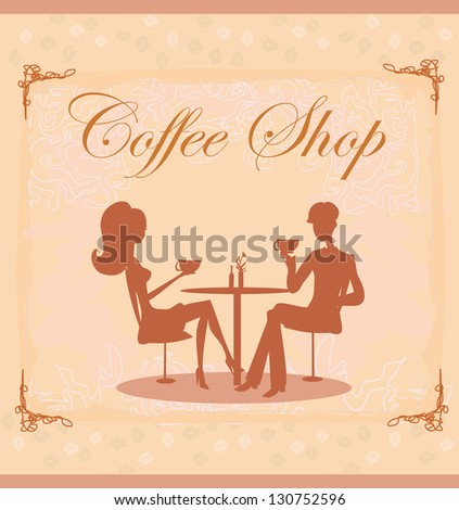 Silhouettes of couple sitting in cafe - stock vector