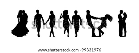 silhouettes of couples in love - stock vector