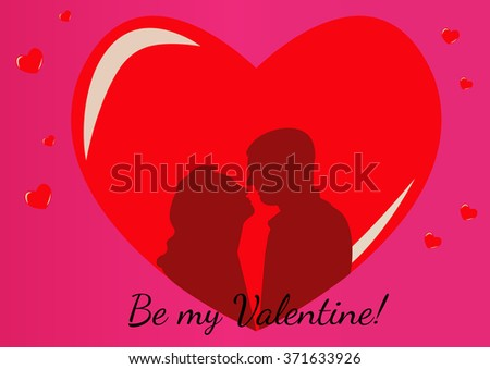 Silhouettes of couples in love on a pink background with red hearts