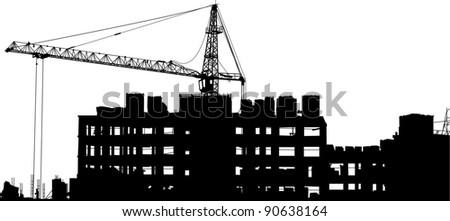 Silhouettes of crane near of building - stock vector