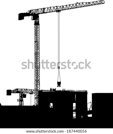 Silhouettes of cranes on building - stock vector