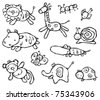 Silhouettes of cute animals. - stock vector