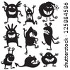 Silhouettes of cute doodle monsters - stock vector
