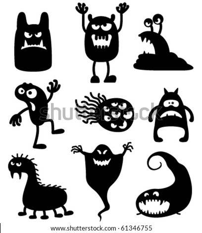 Silhouettes of cute doodle monsters-bacteria - stock vector