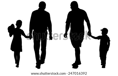 silhouettes of dads holding kids - stock vector