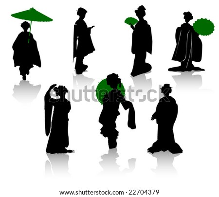 Silhouettes of dancers of Japanese theater Kabuki and silhouettes of geisha - stock vector