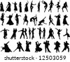 silhouettes of dancing people - stock vector
