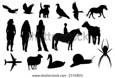 silhouettes of different animals and people (vector)
