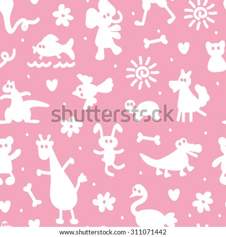 Silhouettes of different cartoon animals. Vector Seamless Pattern of funny animals. Bright children's wallpaper. - stock vector