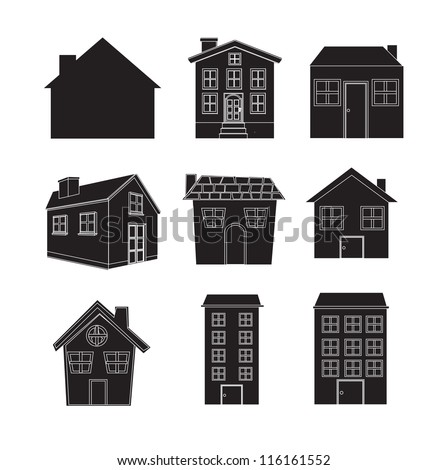 silhouettes of different houses over white background - stock vector
