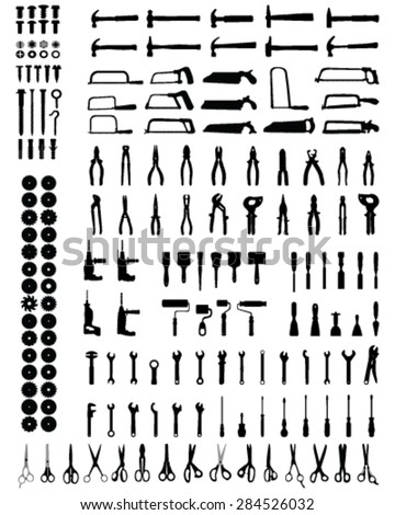 Silhouettes of different tools, vector - stock vector