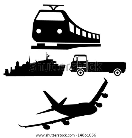 silhouettes of different vehicles boat train truck and plane - stock vector