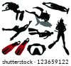 Silhouettes of divers and diving equipment-vector - stock vector