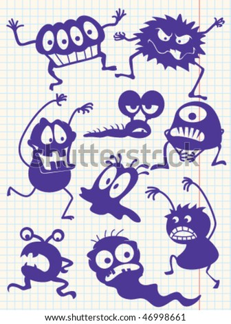Silhouettes of doodle monsters-bacteria