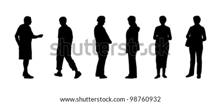 silhouettes of elderly people