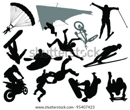silhouettes of extreme sports-vector - stock vector