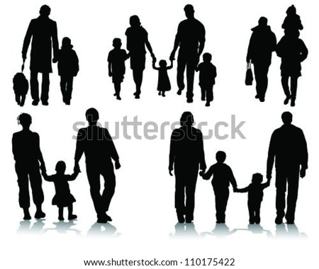 silhouettes of families walking 2-vector - stock vectorFamily Walking Silhouette