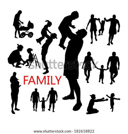 silhouettes of family and children . Vector - stock vector