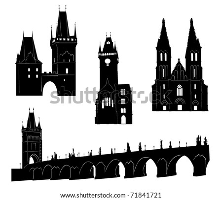 Silhouettes of famous buildings and landmarks of Prague. - stock vector