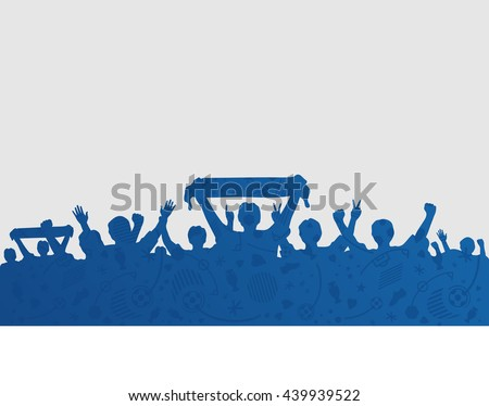 Silhouettes of fans on blue soccer icons. European championship 2016. Vector illustration - stock vector