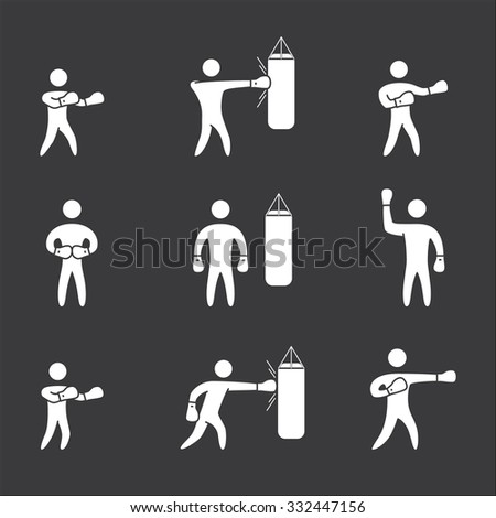 Silhouettes of figures boxer icons set. Boxing vector symbols - stock vector