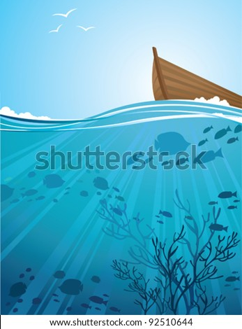 Silhouettes of fish and sun rays in a sea and boat