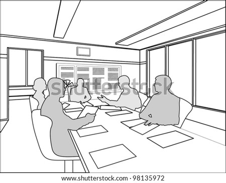 silhouettes of five business people negotiate at the table on the white chairs - stock vector