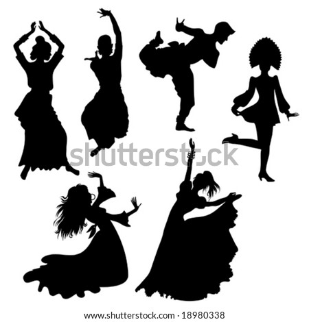 silhouettes of folk dancers