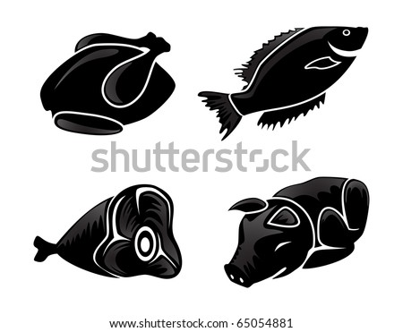 Silhouettes of food - stock vector