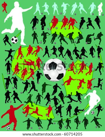 silhouettes of football players on the green background - stock vector