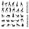silhouettes of girl stretching and exercise - stock