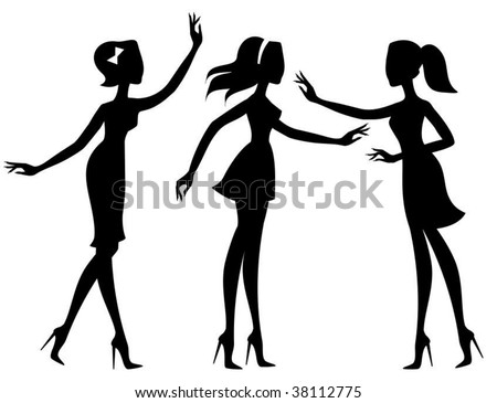 Silhouettes of girls - stock vector