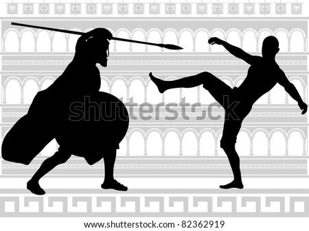 silhouettes of gladiators. vector illustration - stock vector
