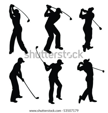 Silhouettes of golfers - stock vector