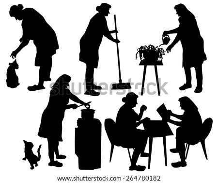 Silhouettes of grandmother taking care of household and relaxing