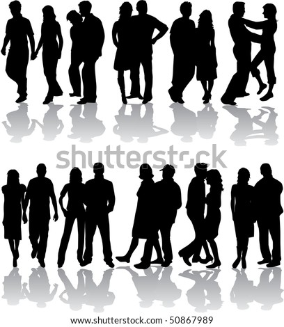 Silhouettes of group, vector work - stock vector