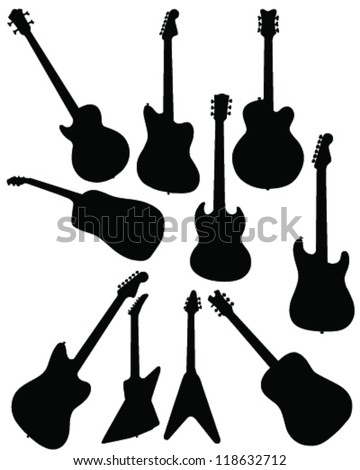 Silhouettes of guitar-vector - stock vector