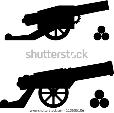 silhouettes of guns with kernels. vector illustration - stock vector