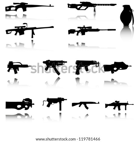 Silhouettes of Guns with reflection - stock vector