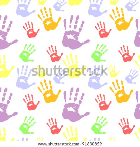 Silhouettes of hands, pattern; seamless