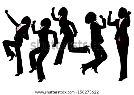 Silhouettes of Happy Excited Business woman with white background - stock vector