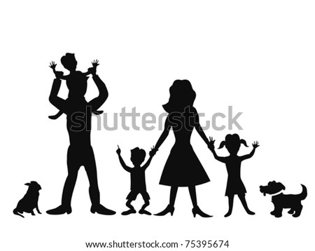 silhouettes of happy family on white background - stock vector