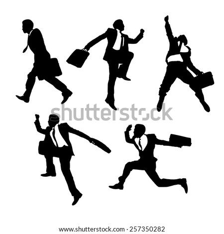 Silhouettes of happy jump and running Businessmen with white background - stock vector