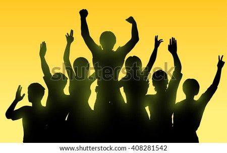 Silhouettes of happy people with hands up