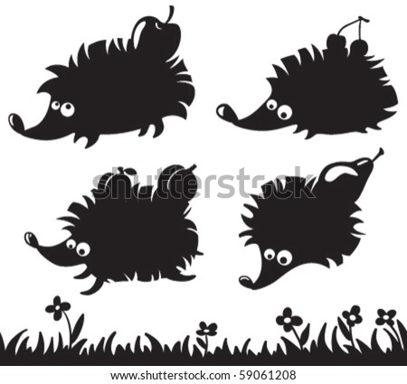 Silhouettes of hedgehogs with fruit on the back and grass seamless