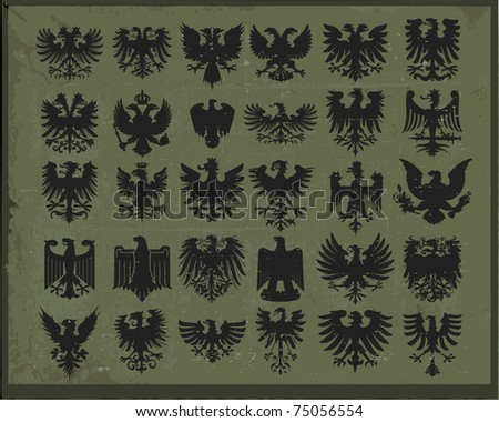 Silhouettes of heraldic eagles - stock vector
