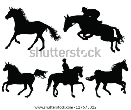 Silhouettes of horses on white background 2-vector