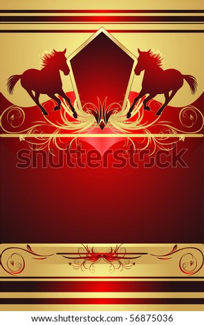Silhouettes of hurrying horse on the stylish ornament. Background for wrapping. Vector